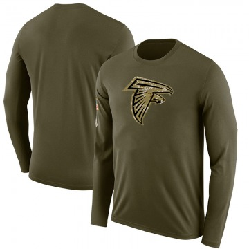 Men's Blank Atlanta Falcons Salute to Service Sideline Olive Legend Long Sleeve T-Shirt